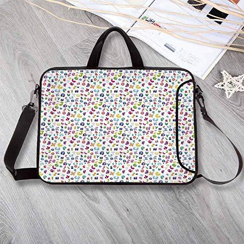 (Kids Decor Stylish Neoprene Laptop Bag,Cute Colorful Alphabet ABC Bubble Letters Doodle Style Fun Childish Nursery Design Laptop Bag for Business Casual or School,13.8