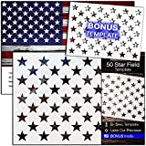 American Flag 50 STAR STENCIL for Painting on Wood, Fabric, Walls, Airbrush + More | Reusable G-SPEC 10.5 x 14.82 inch mylar Template + FREE 7 x 9.88'' Starfield Stencil