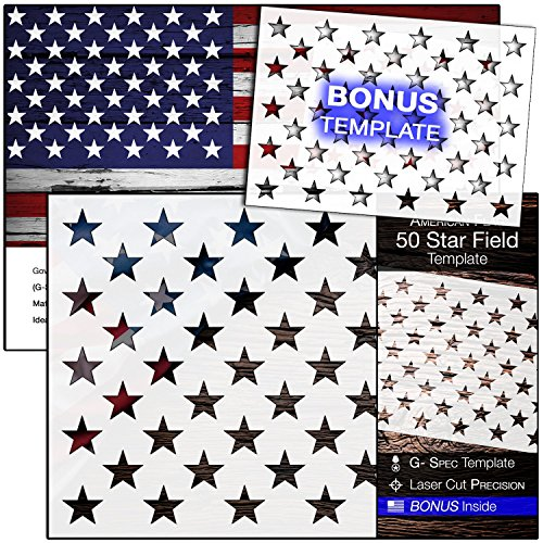 "American Flag 50 STAR STENCIL for Painting on Wood, Fabric, Walls, Airbrush + More | Reusable G-SPEC 10.5 x 14.82 inch mylar Template + FREE 7 x 9.88"" Starfield Stencil from U Create"