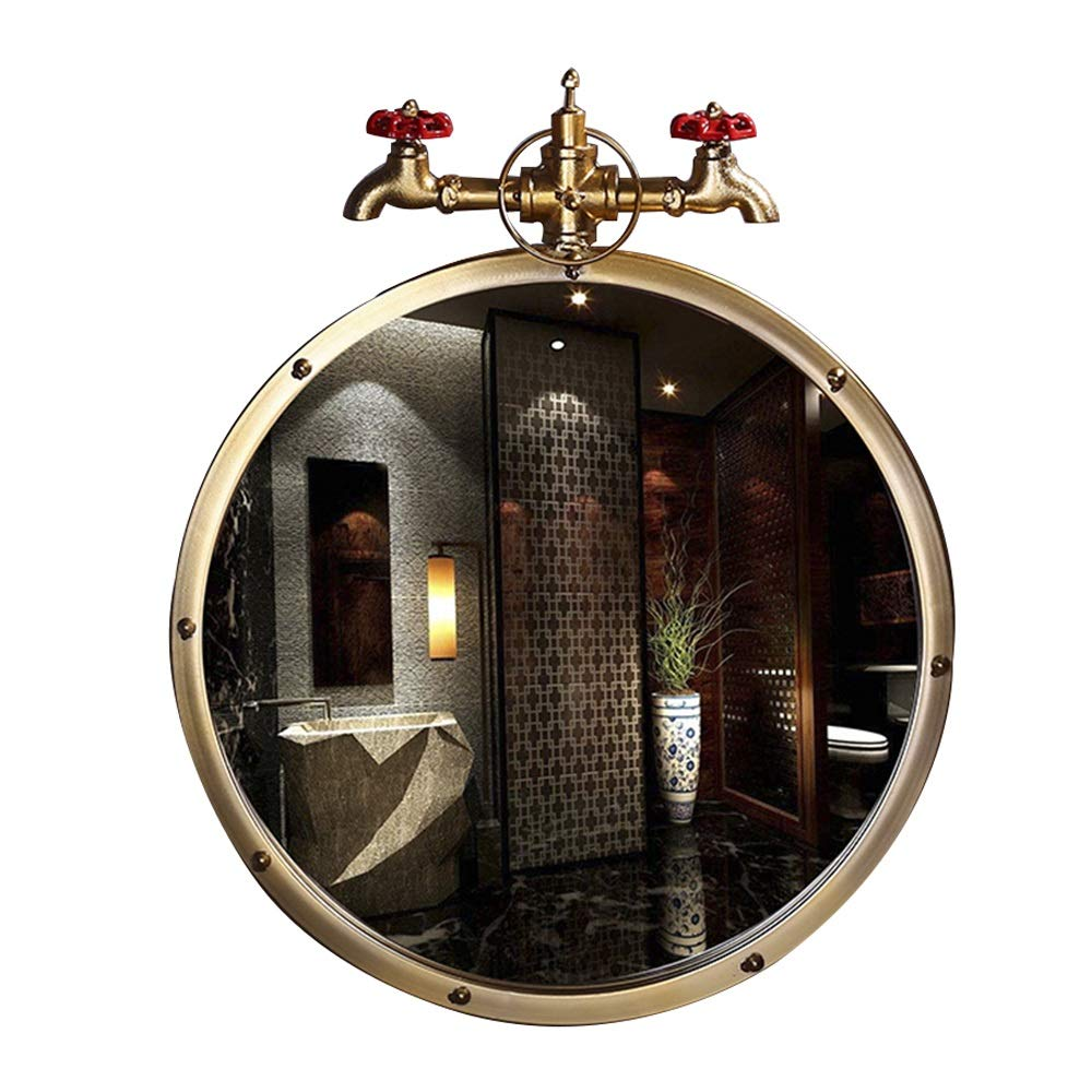 HGXC Bathroom Mirror, European Wrought Iron Retro Round bar Cafe Decoration Mirror Gold 50cm Mirror