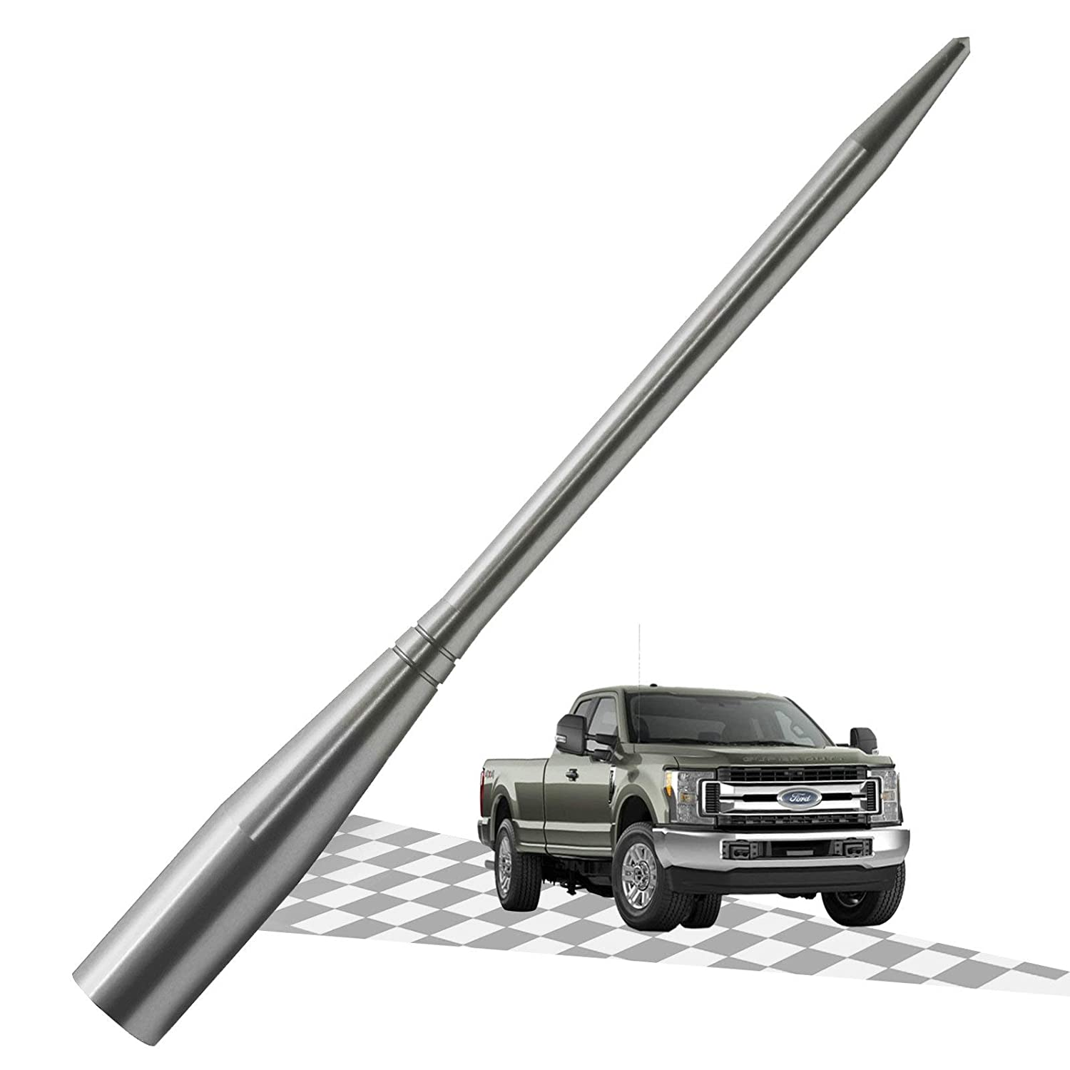 Silver/Titanium 6.75 Inches Optimized AM//FM Reception with Tough Material Elitezip Antenna Compatible with Ford F-250 2009-2018