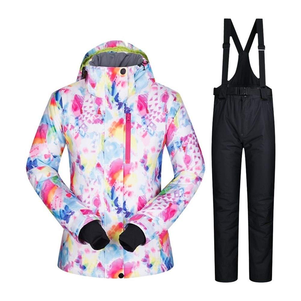 LilyAngel 女子スキースーツ防水透湿性暖かいセットのスキージャケットとパンツ雪の冬スノーボードは、女性の冬のジャケットスーツ FSC And 黒 Medium