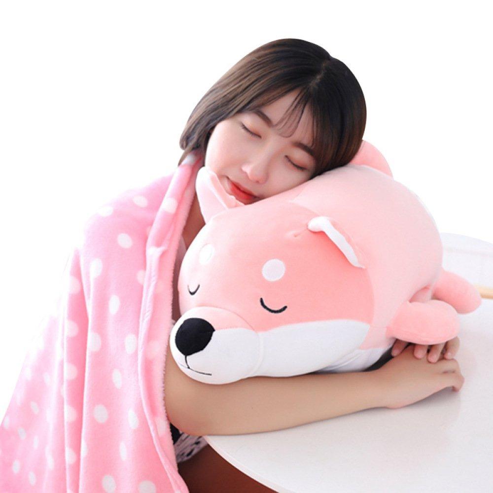 YT Almohada de Dormir de la Muñeca del Perro de Akita Suave Almohada de la Almohadilla del Perro de Juguete de Algodón de Shiba Inu Tres en uno,Rosado,58  38cm