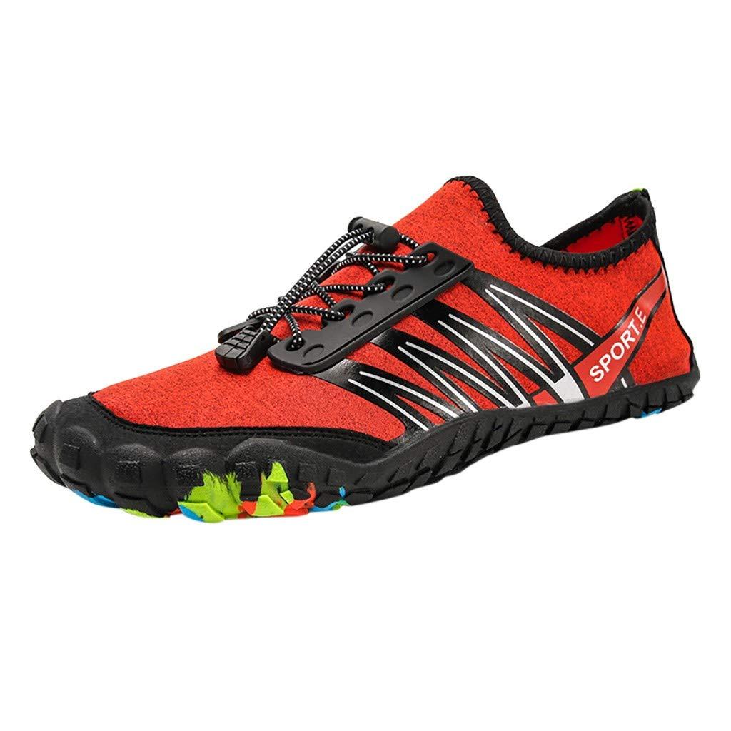 NUWFOR Unisex Quick-Dry Water Shoes Pool Beach Swim Drawstring Shoes Creek Diving Shoes(Orange,6.5 M US Length:9.1'')