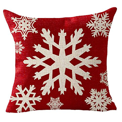 Merry Christmas snowflake red hat Throw Pillow Cover Cushion Case Cotton Linen Material Decorative 18