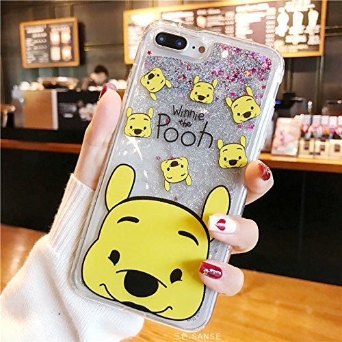 Glitter Flowing Yellow Winnie the Pooh Bear Case for iPhone 7Plus 8Plus 7+ Water Liquid Sequins Sparkling Bling Thick Clear Transparent Shockproof Disney Cartoon Cute Chic Lovely Girls Women Teen (Glitter Walt Disney)