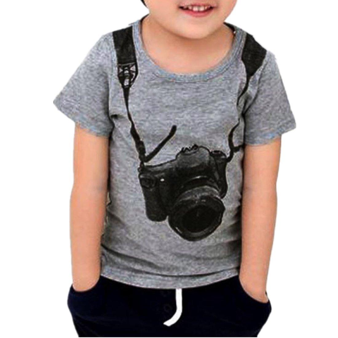 Amlaiworld Summer Boys Camera Short Sleeve Tops Amlaiworld_1271