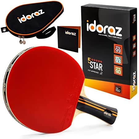 Idoraz Table Tennis Paddle Professional – Ping Pong Racket with Carrying Case ITTF Approved Rubber for Tournament Play