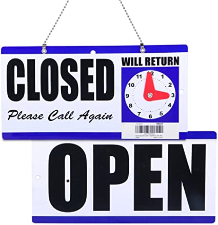 WILL RETURN Business Hours —Hanging 2-Sided YJ OPEN CLOSED Sign CLOCK