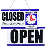 "Eagle Open and Closed Sign, Plastic, with Hanging Chain, Double Sides with ""Will Return"" Clock, 6X11.5-Inches"