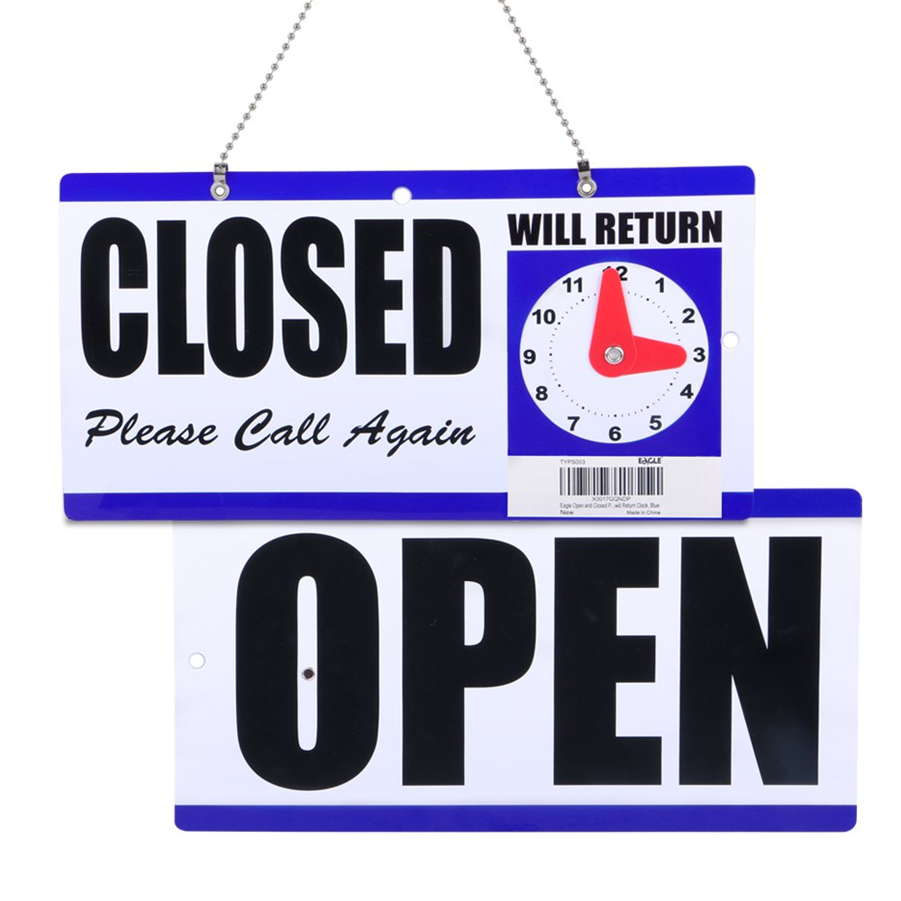 Eagle Open and Closed Plastic Hanging Sign with''Will Return'' Clock, 6 X 11.5 Inches