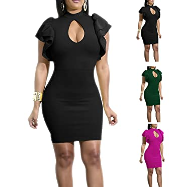 9a047953d077 Women Ruffle Flounce Dress Sexy Short Sleeve Cutout Tight Dresses Bodycon  Mini Club Dress (S