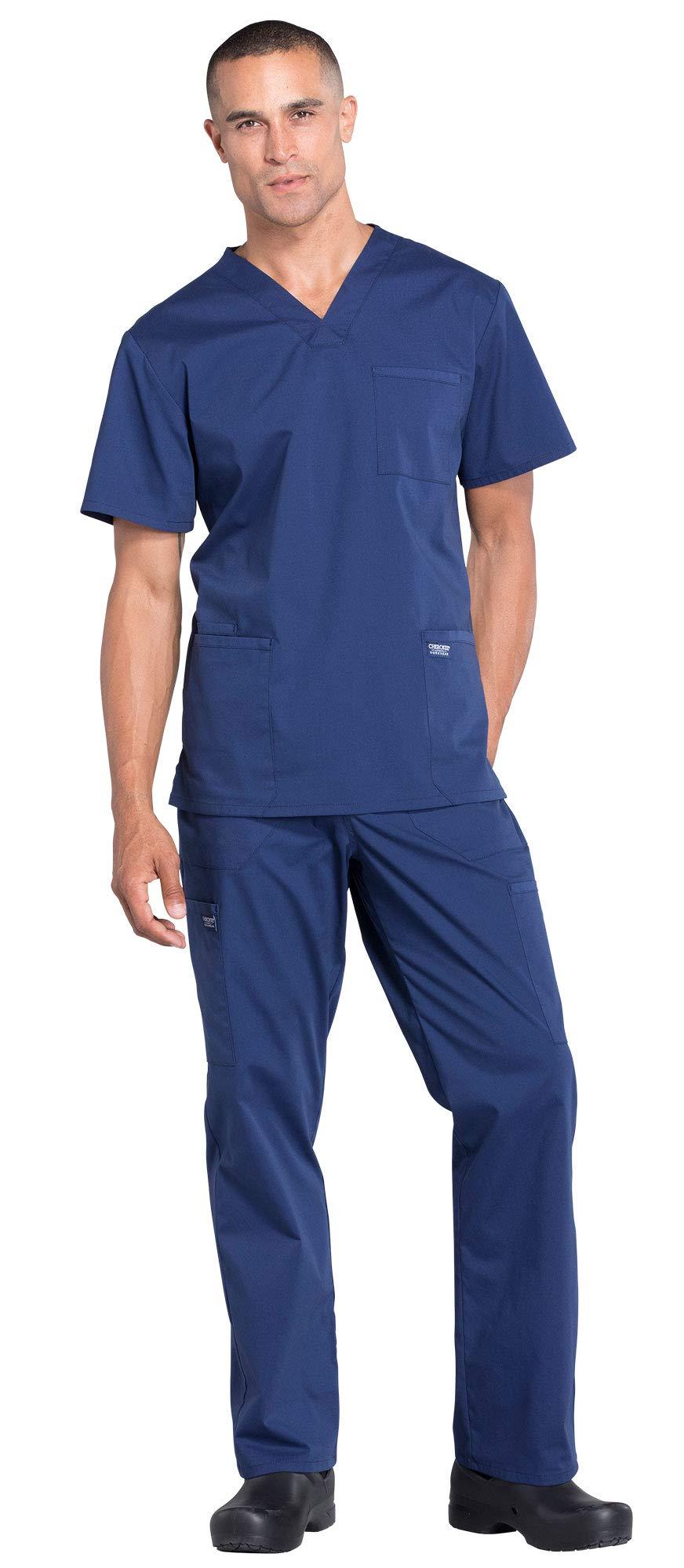 Cherokee Workwear Professionals Men's 4 Pocket V-Neck Scrub Top WW695 & Men's Drawstring Cargo Scrub Pants WW190 Medical Uniforms Scrub Set (Navy - X-Small)