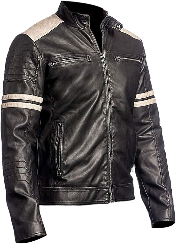 Retro Hybrid Vintage Cafe Racer Distressed White Stripes Biker Leather Black Jacket