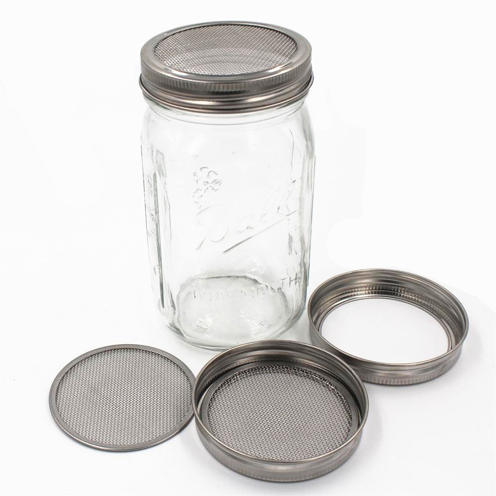 Set of 4 Stainless Steel Sprouting Jar Lid Kit for Superb Ventilation Fit for Wide Mouth Mason Jars Canning Jars for making organic sprout seeds in your house/kitchen by CHBKT (Image #4)