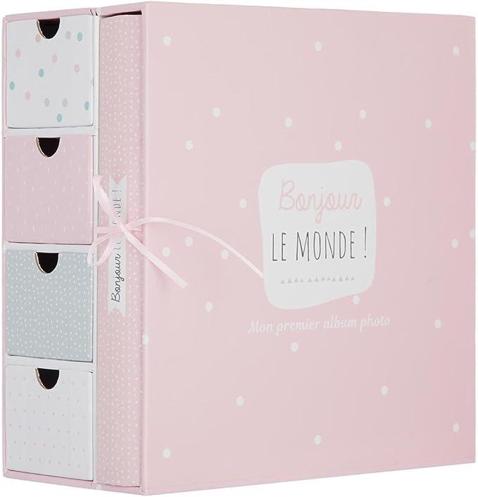 2 en 1 Caja de recuerdos de nacimiento + Album de fotos - Color ROSA: Amazon.es: Bebé