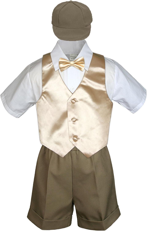 MILLTEX 5 Pieces Formal Wedding Color Satin Vest /& Bow tie Shirt W//Hat Taupe Shorts Set Baby Boy Toddler Sm-4T