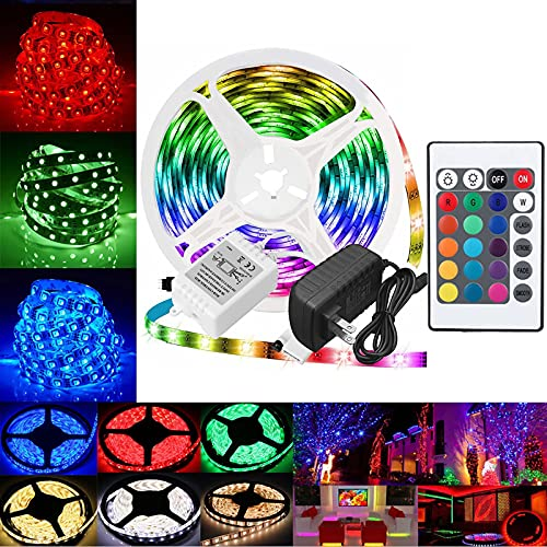 5/10M RGB 300/600 Tira de Luz LED Cinta de Cadena 24 Teclas Control Remoto por Infrarrojos (10M)