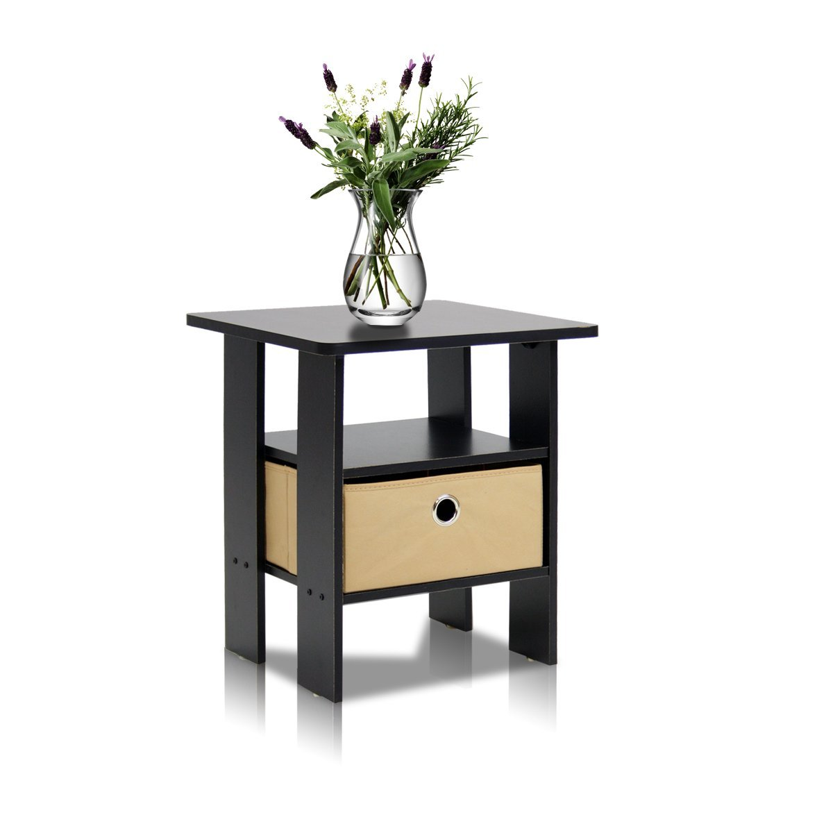 Furinno 11157EX/BR End Table Bedroom Night Stand w/Bin Drawer, Espresso/Brown