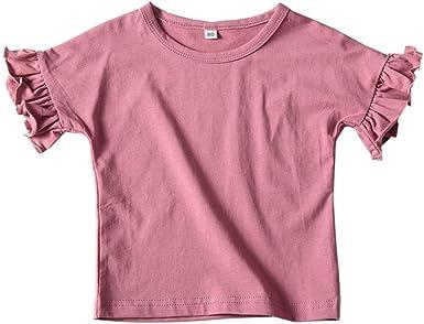 Mornyray Niño pequeño bebé niña Volando Manga Camiseta muñeca Camisa Tops Color sólido Volante: Amazon.es: Ropa y accesorios