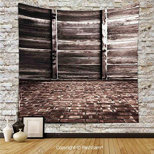 FashSam Tapestry Wall Blanket Wall Decor Aged Cracked Striped Oak Boarded Plank Wall Back and Dated Brick Floor Picture Home Decorations for Bedroom(W39xL59)]()