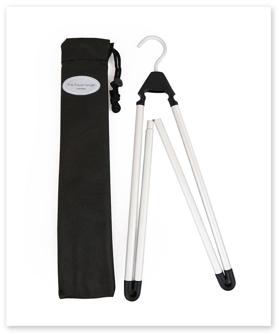 Travel Hanger, Car Hanger, Clothes Hanger- Foldable Hanger, Folding Hanger, Collapsible Hanger, Portable Hanger (Matte Silver & Black) (2) by Boottique (Image #5)
