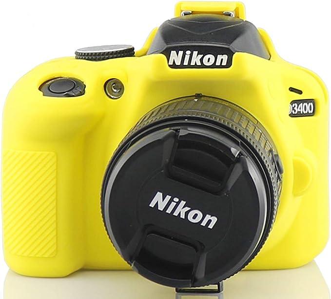 Amarillo Silicona Funda para Suave Silicona Goma cámara Protectora Funda para Nikon D3400: Amazon.es: Electrónica