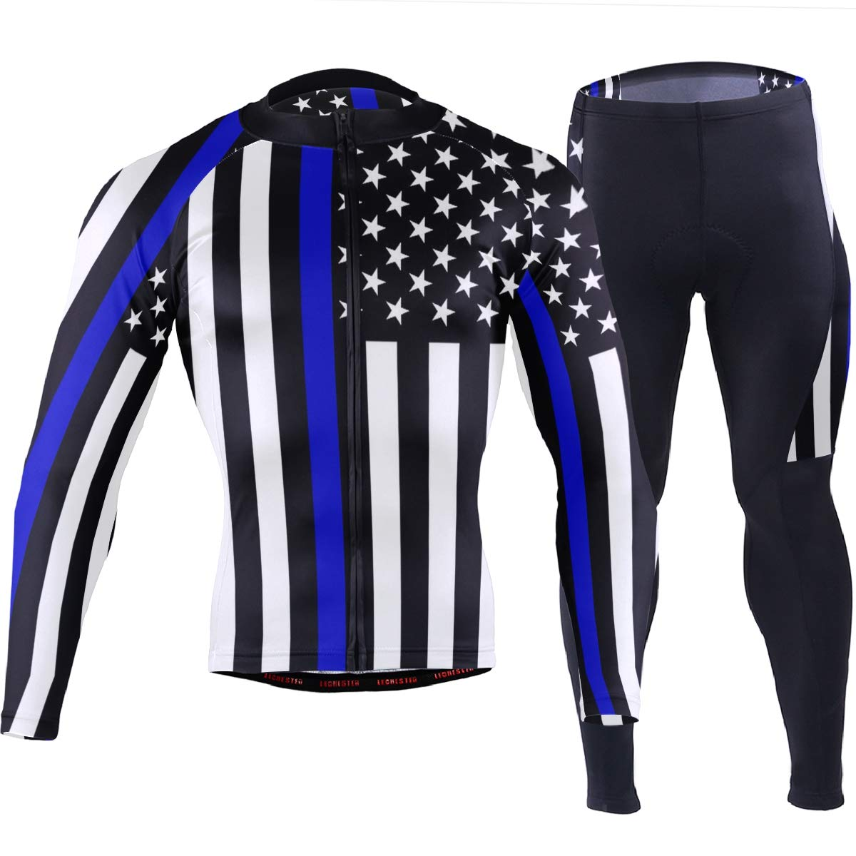 CHINEIN Men's Cycling Jersey Long Sleeve with 3 Rear Pockets Suit Police Thin Blue Line American Flag by CHINEIN