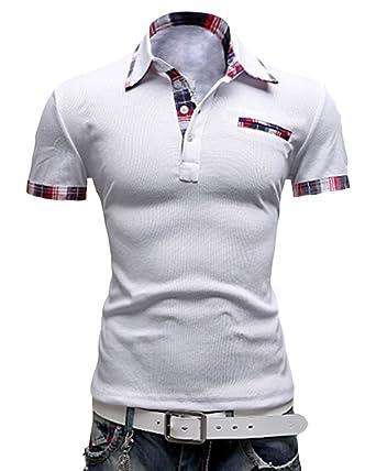 Homme Shirts Casuel Manche Elastique Polo T Shirt Fit Courte Slim N80wPknOXZ