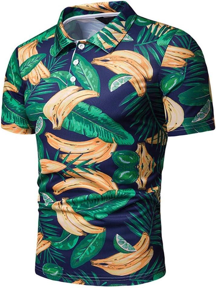 GZYD Camisa Hombre Manga Corta Estampado de Banana Polo Ajustado Solapa Botón Moda Vacaciones Diario Playa Hawai Polo Camiseta,XXL: Amazon.es: Deportes y aire libre