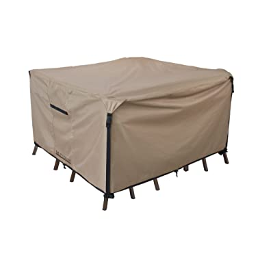 Square/Round Patio Heavy Duty Table Cover 600D Tough Canvas 100% Waterproof & UV-resistant Outdoor Dining Table Chair Set Cover Size 74 inch