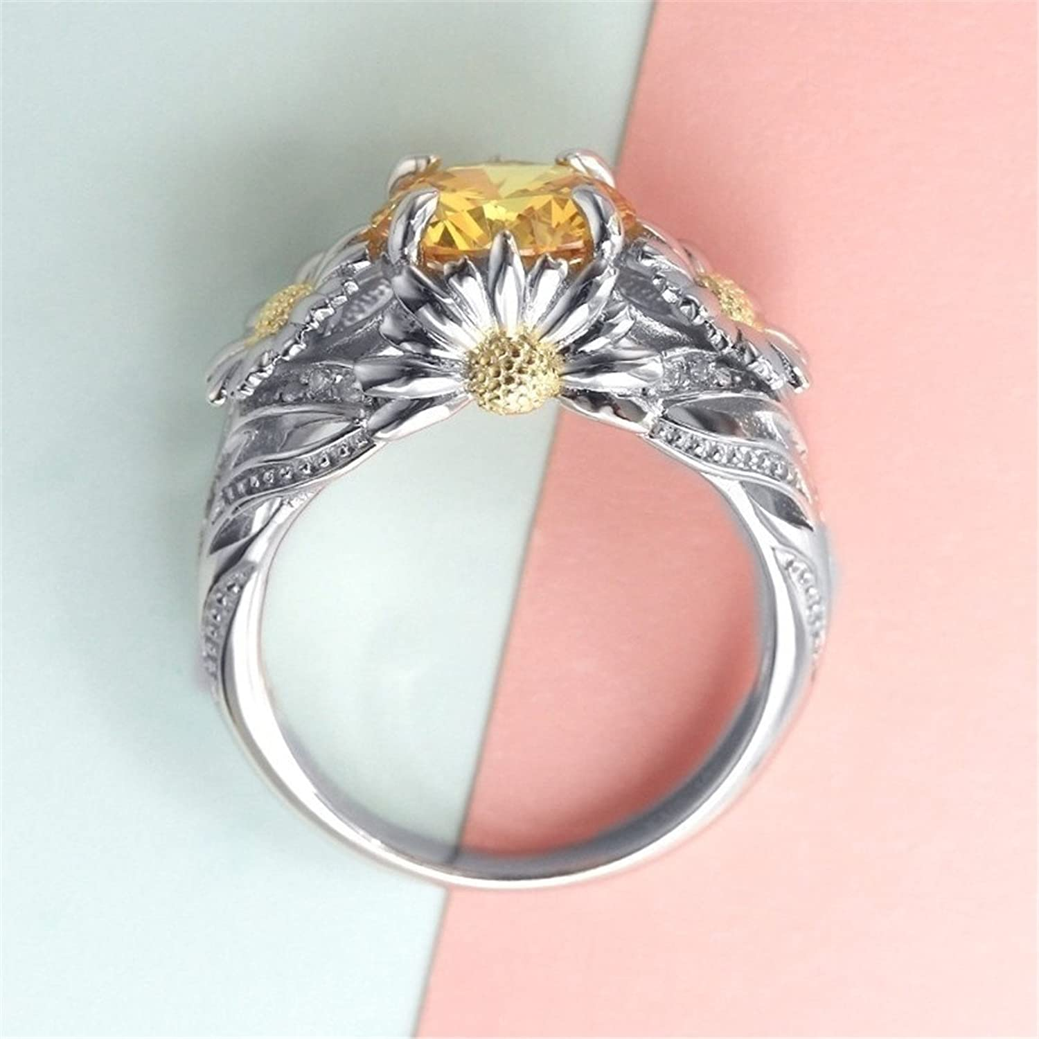 Amazon.com: Obsede Silver Plated Daisy Flower Ring Engagement Rings ...