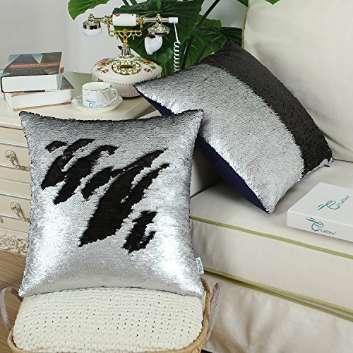 Pack of 2 CaliTime Throw Pillow Covers Cases for Couch Sofa Home Decor, Reversible Sequins Mermaid Magic Color Change, 20 X 20 Inches, Silver / Black