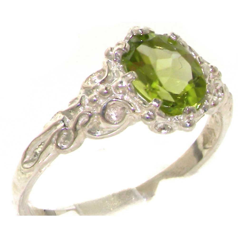 925 Sterling Silver Natural Peridot Womens Solitaire Ring - Sizes 4 to 12 Available