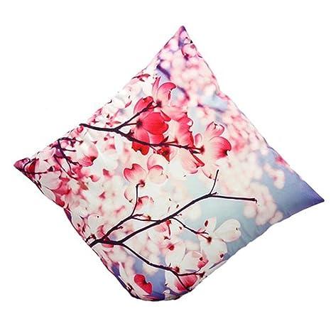 White Tatis 45cm*45cm Velboa Cushion Cover 3D Flower Print Sofa Bed Home Decoration
