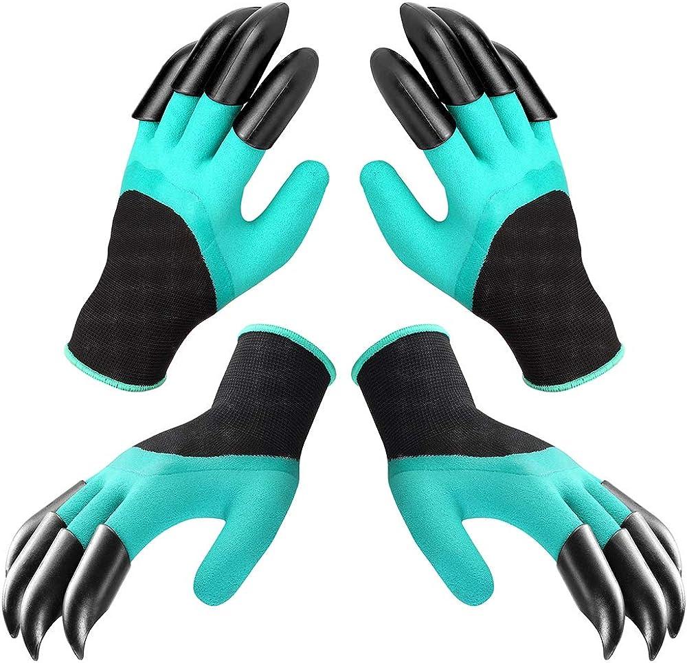 [2 Pairs] Gardening Gloves, Waterproof Garden Gloves with Claw Digging & Planting Weeding Seeding Tools, Thorn Resistant Safe Garden Genie Rubber Gloves, Best Gardening Gifts for Women and Men
