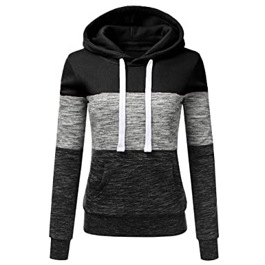 fc5ce8869d428 Oksale Fashion Womens Casual Hoodies Sweatshirt Patchwork Ladies Hooded  Blouse Pullover (Black