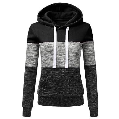 019bcf47a21c Oksale Fashion Womens Casual Hoodies Sweatshirt Patchwork Ladies Hooded  Blouse Pullover (Black