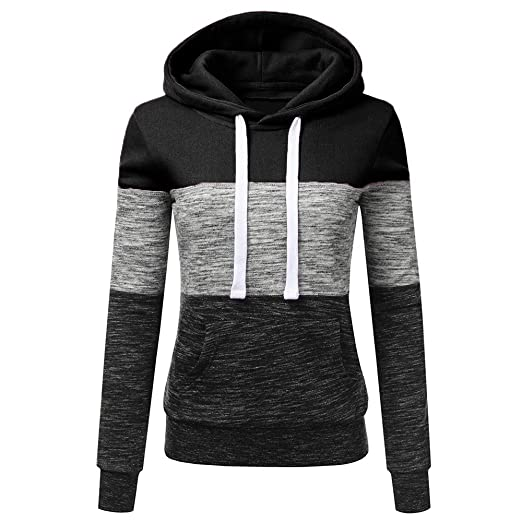 Misaky Women s Hoodies Fashion Casual Sweatshirt Patchwork Ladies Hooded  Blouse Pullove(Black dbef96db94