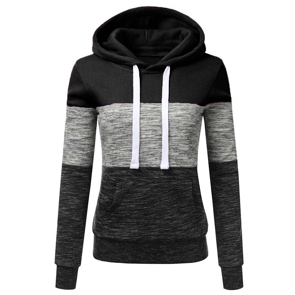 STORTO Womens Casual Color Block Hoodies Sweatshirt Patchwork Drawstring Pullover Tops (S, Black)