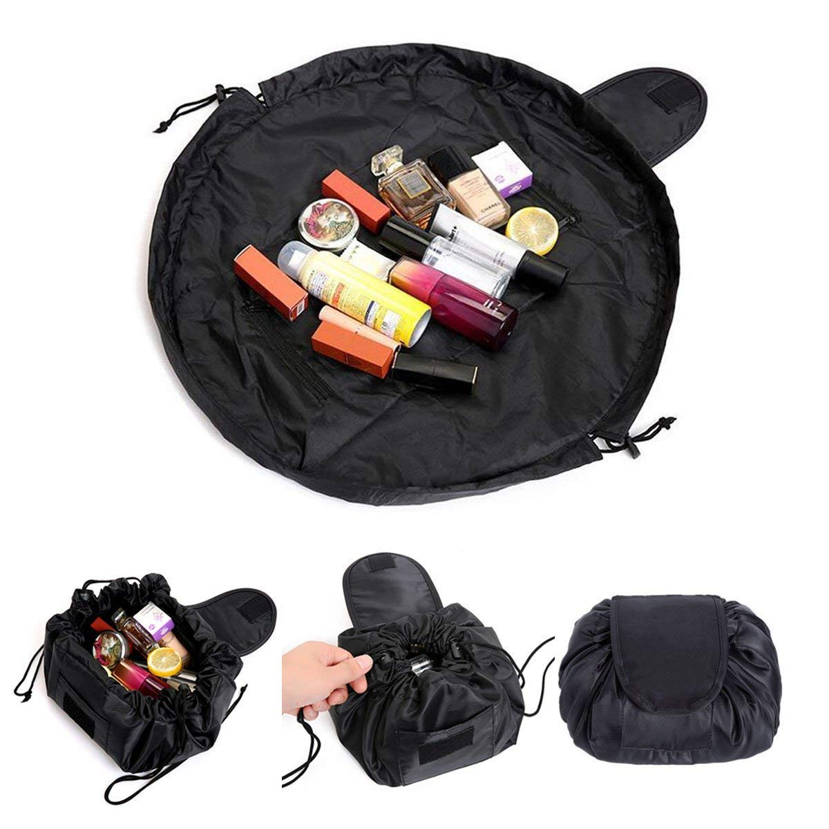 Lazy Cosmetic Bag, Fashion Cosmetic Bag Borsa Cosmetica, Large Capacity Portable Drawstring Storage Artifact Magic Travel Pouch Simple Makeup Toiletry Bag ANN-BEAU-RS01D