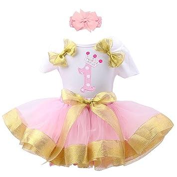 66c1ae70d7ae Baby Girls  1st Birthday Outfit 3PCS Birthday Baby Girls Bodysuit ...