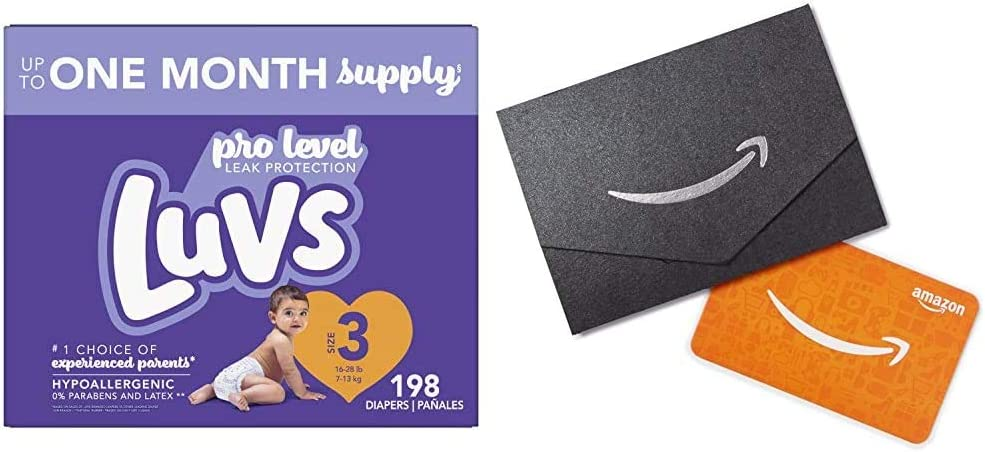 Newborn//Size 1 $10  Gift Card 8-14 lb ONE Month Supply Luvs Ultra Leakguards Disposable Baby Diapers 252 Count