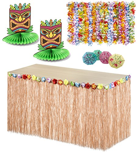 Tropical Luau Hula Party Beach Decoration Combo Pack - 36 Lei Necklaces, 144 Cocktail Drink Umbrellas, Hawaiian Grass Floral Table Skirt, and 2 Tiki Man Centerpieces - Haute Soiree
