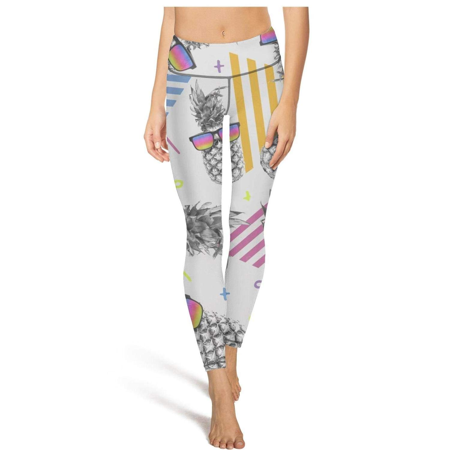 Hamily Broderei Women's Yoga Leggings Awesome Style Pineapple with Vintage Eye Glasses Exercise Workout Pants Gym Tights