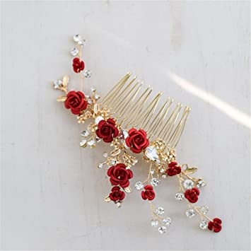 727c35ce6 Amazon.com : Red Floral Bridal Hair Accessories Headband Gold Wedding Hair  Comb Accessories Women Prom Headpiece Jewelry hair comb : Beauty