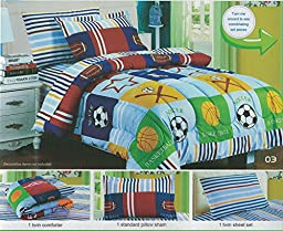 Boy\'s Sports Themed Comforter Set Children\'s Soccer Football Baseball Patchwork Sheet Set, Twin Size, 5 Pieces