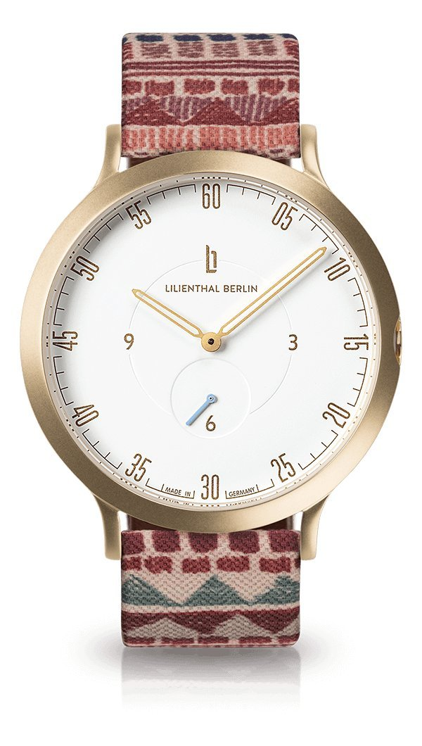 Lilienthal Berlin -Made in Germany- ベルリンの新しい時計モデル L1 ステンレススチール ケース B078WQ74PB Size: 42.5 mm|Case: gold / Dial: white / Strap: festival Case: gold / Dial: white / Strap: festival Size: 42.5 mm