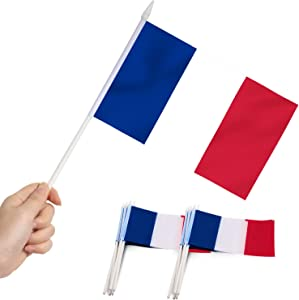 Anley France Mini Flag 12 Pack - Hand Held Small Miniature French Flags on Stick - Fade Resistant & Vivid Colors - 5x8 Inch with Solid Pole & Spear Top