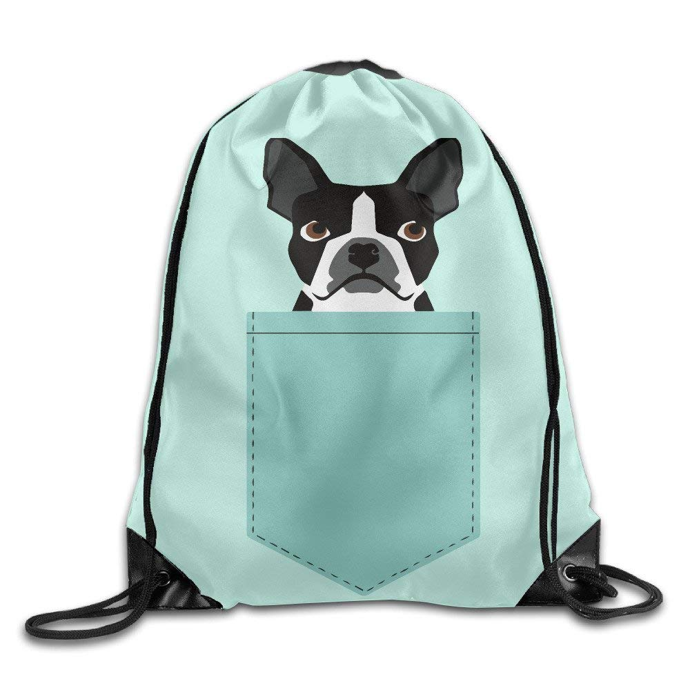 Unisex Boston Terrier and French Bulldog Drawstring Bag Drawstring Backpack Sport Bag Gym Bag 100% Polyester Material Travel Bag For Men Women CrownLiny